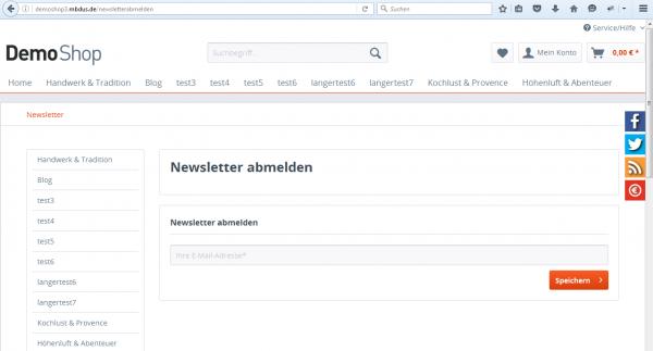 Separate Newsletterabmeldeseite
