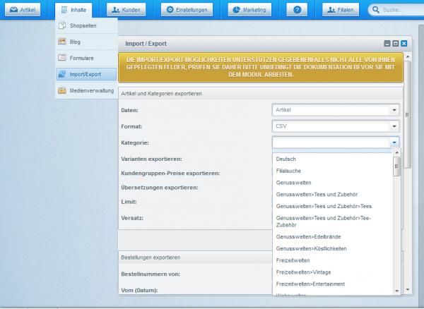 Kategorieweiser Artikel-Export + Ex- und Import von Filterwerten